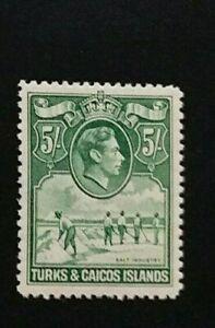 TURKS AND CAICOS 1938 5s SG 204 Sc 88 MNH