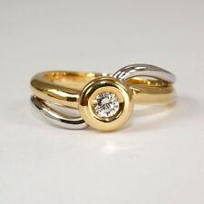 Klassischer Ring in 585 Gelbgold / Weissgold mit Brillant 0,22 ct. tw.si