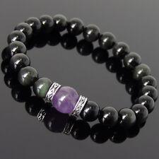 Men's Women Black Obsidian Amethyst 925 Sterling Silver Bracelet DIY-KAREN 310