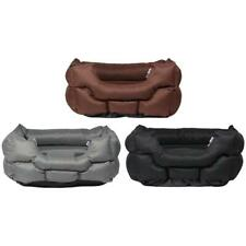 More details for woodland high sided canvas dog bed soft washable cushion warm pet basket cushion