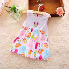 Infantile Bébé Fille Robe Coton Régulière Sans Manches Vêtements Casual 0-24 9H