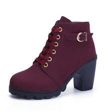 Womens Ankle Martin Boots Ladies High Heels Lace Up Zipper Buckle Platform Shoes