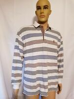 Tommy Hilfiger Long Sleeve Polo Shirt Striped Mens Size Large Crest Multicolored