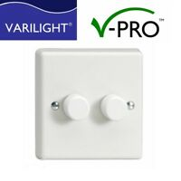 LED Dimmer Varilight V-PRO Switch 2 gang 1 or 2 Way Trailing Edge 0-120W  x 2