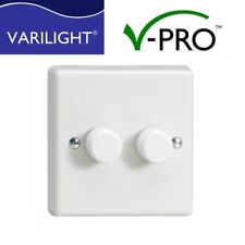 Varilight LED V-PRO Dimmer Switch 2 gang 1 or 2 Way Trailing Edge 0-120W  x 2