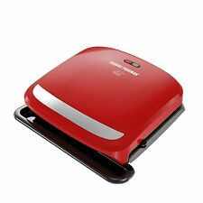 NEW George Foreman GRP360R 4 Serving Removable Plate 360 Grill, Red