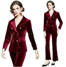 Office Women Ladies Velvet Blazer Jacket Flared Trousers 2Pcs Suit OL Business L