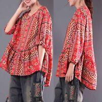 ZANZEA Femme Chemise à imprimé floral Manche Longue Loisir Loose Shirt Tops Plus