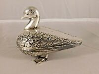 ANTIQUE SILVER DUCK BOX / CONTAINER with EGYPTIAN HALLMARKS