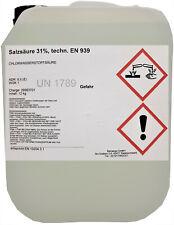 Salzsäure 12 Kg 31 Techn Kalklöser Entroster Beizmittel Reiniger Labor