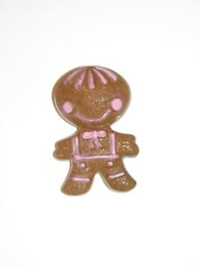 Avon FRAGRANCE GLACE Pin Vintage GINGERBREAD MAN White with PINK Cheeks USED