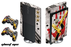 Skin Decal Wrap For PS3 Super Slim PlayStation 3  Console + Controller Ghost Ops