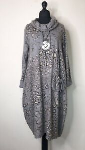 Made In Italy Lagenlook Grey Patterned Cowl Neck Dress -  14 16 18