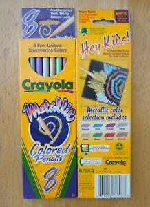 Lot of 16 Crayola Metallic Colored Pencils Presharpened 2 Boxes of 8 Pencils