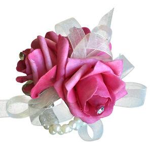 Wrist Corsage - Watermelon Pink Foam Rose with Rhinestone