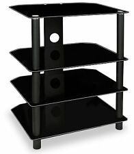 Mount-It! TV Media Stand Glass Shelves Audio Video Components Storage for Xbox