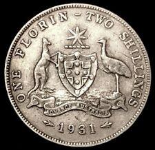 1931 Australia 1 Florin / 2 Shillings .925 Silver Coin Red Kangaroo / Emu KM#270