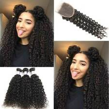 Brazilian Jerry Curly Human Hair 3 Bundles with Closure 10''10''10''with 10''