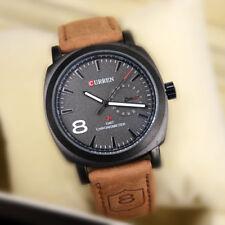 Herren Armbanduhr mit Kunstleder Armband Quarz Analog Uhr braun schwarz