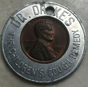 1950 D Lincoln Wheat Cent Encased Cent - Dr Drake's Children's Cough Remedy