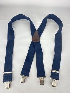 "Carhartt 2"" Suspenders 46"" Length Adjustable Mens Blue Wide Clip Strech"