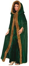 Mens Ladies Long Green Fur Trim Hooded Medieval Fancy Dress Costume Outfit Cape