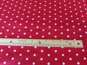 2 Yards Red With White Polka Dots Flannel Fabric