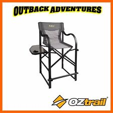 OZTRAIL DIRECTORS VANTAGE CHAIR WITH SIDE TABLE - GREY CAMPING TALL BAR CHAIR