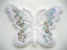 White  Butterflies Paillette Sequin Iron on/Sew on Patch (pack of 10)