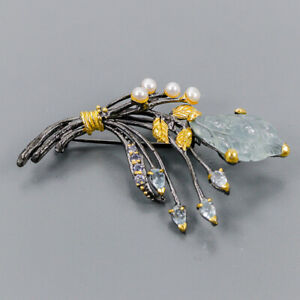 Aquamarine Brooch Silver 925 Sterling jewelry for Gift /NB09041