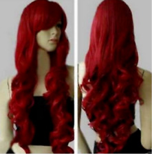 new 2018 Fashion Womens Dark Red Long Wavy Curly Anime Cosplay Wig