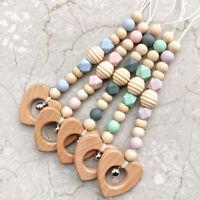 Heart Beech Wood Silicone Beads Baby Teething Stroller Toy Pram Rattle BPA Free