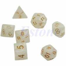 White 7pcs Sided Dice D4 D6 D8 D10 D12 D20 Dungeons&Dragon D&D RPG Poly Game Set