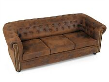 CHESTERFIELD Polstersofa Sofa 3-Sitzer 3er Couch Gobi Microvelour Braun Edel