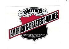 United Engine Company Decal Gas Stationary Motor Lansing Michigan