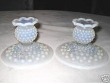 FENTON WHITE HOBNAIL OPALESCENT ART GLASS CANDLE HOLDERS STICK CANDLESTICK LIGHT