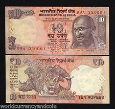 INDIA 10 RUPEES 2012 2013 2015 2016 GANDHI NEW SYMBOL TIGER RHINO UNC MONEY NOTE
