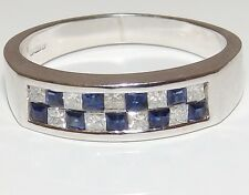 A FINE 18CT WHITE GOLD SQUARE CUT SAPPHIRE & DIAMOND ETERNITY RING WT 4.2g