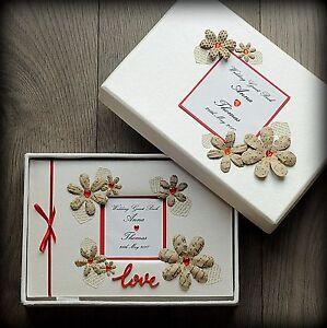 Luxury Personalised Wedding Guest Book/ Handmade Boxed