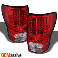 Fits 2007-2013 Tundra Red Clear LED Tail Lights Lamps LH+RH 2008 2009 2010 2011
