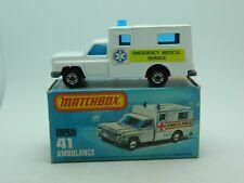 Vintage Matchbox SuperFast No 41 Ambulance w/box - Fast Ship