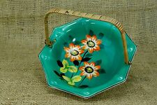 "Vintage Hand Painted Wicker Handle 7"" Octagon Bowl Dish Green Flowers Japan -5"