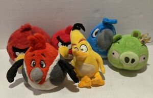 """Lot of 6 Misc Rovio Angry Birds 5"""" Commonwealth Stuffed Plush Toy Some w/ Sound"""