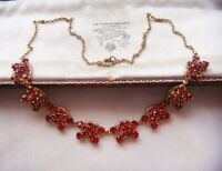 EARLIER VINTAGE Ruby Red Crystal Rhineston Rivet Construction NECKLACE