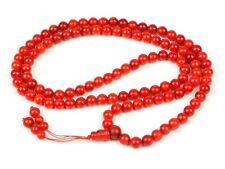 "19"" Tibetan 108 Red Coral Player Beads Mantra Meditation Buddhist Mala"