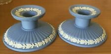 New Listing2 Wedgwood Blue Jasperware Ribbed Candlesticks Candle Holders Set Pair England