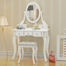 White Dressing Table Vanity Makeup Desk Set and 5 Drawers, 1 Mirror, Stool Set