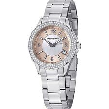 NEW Stuhrling Original 887.03 Women's IRIS Peach MOP Dial Crystal Bezel SS Watch