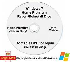 Windows 7 Home Premium 64 Bit Recovery Repair Restore Boot Fix Disc Reinstall SP