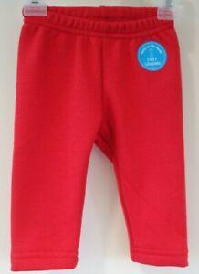 New Oshkosh Red Cozy Fleece Lined Leggings Girl's Size 9 Month